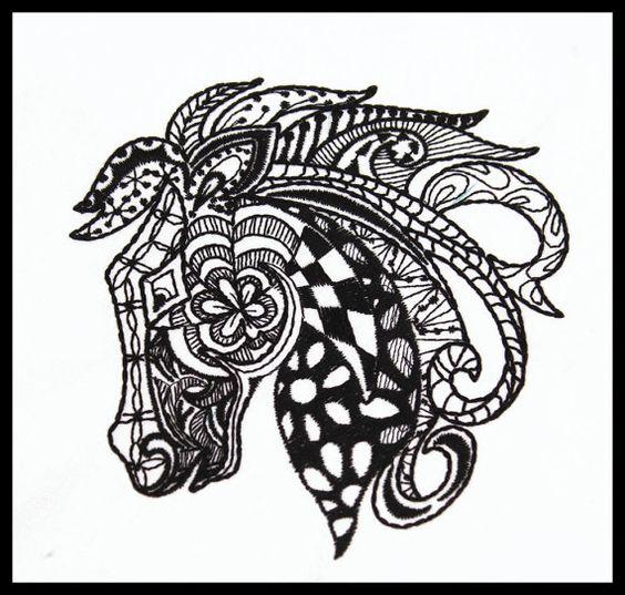 Quilt block machine embroidered black horse on white