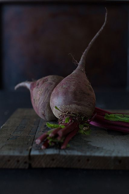 Photo by Yelena Strokin  •WHY I LOVE IT: Because it could be a painting. Yelena's work is thoughtful, simple and dramatically lit. The choice of background and angle is perfection. That ray of light coming in and hitting the side of the beets feels like a winter light. I love it all.: