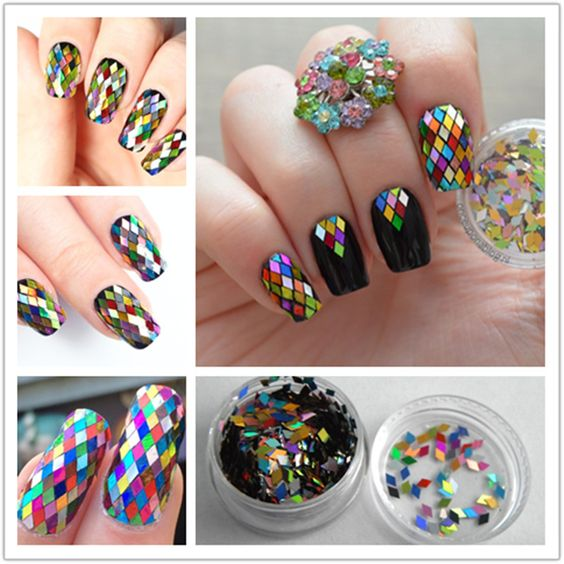 1 Box 2mm Rhombus Sheet Sparkling Nail Art Sequins Decoration Manicure Glitter Nails Art Tools Colorful Nail Art Decors ** More info could be found at the image url.: