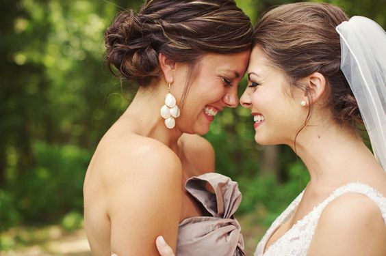Bride and Maid of Honor picture...cute.