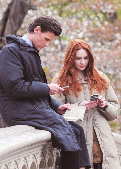 Karen and Matt Texting each other in New York