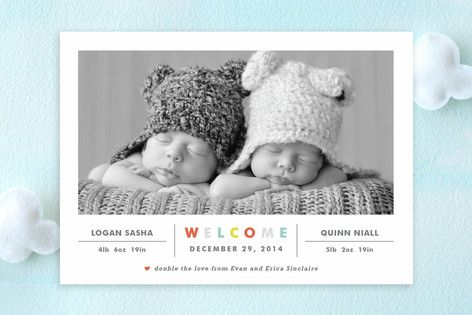 Double the Love Birth Announcements by Carolyn MacLaren at minted.com