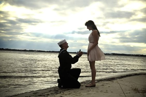 """He told me i was doing a photo shoot of him and to send some pictures to his mother back home, and he wanted to be in his uniform and me looking nice in a dress. And then when i set the timer and ran over to stand beside him, he got down on one knee and asked me to be his wife."""