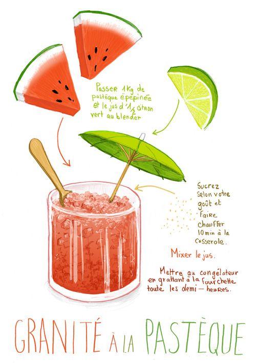 © Stéphanie Rubini - Granité à la pastèque - Watermelon granita