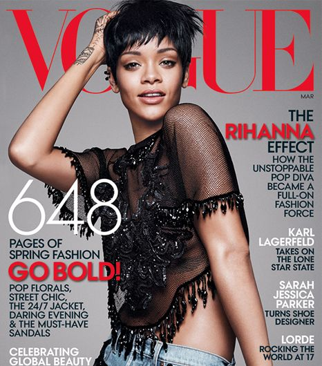 Rihanna graces the cover of US Vogue's March 2014 issue.