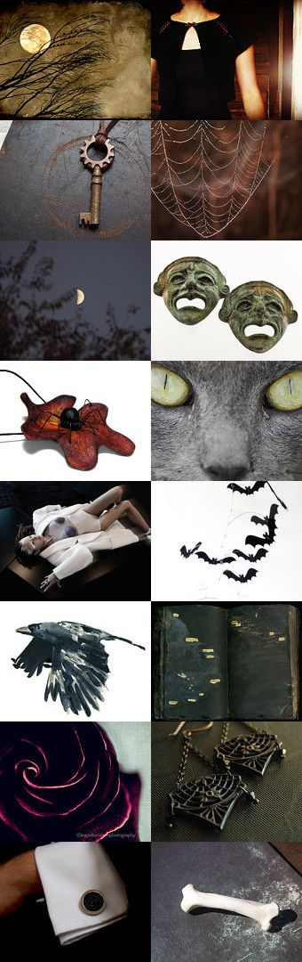 Haunted Mansion by Robyn on Etsy--bats bones cats chaoschallenge chaoscurators etsyfinds featured chaos curator full moon ghosts hauntedmansion ilovemydogjewelry pay it forward ravens red roses skeletons spiders spooky the spirit of halloween