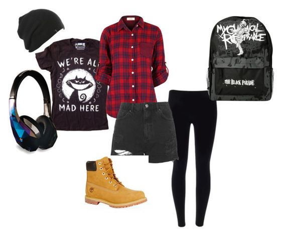 """CreepyPasta Outfit"" by schuby2000 ❤ liked on Polyvore featuring Topshop and Timberland"