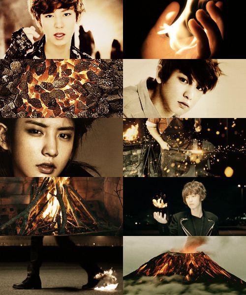 EXO as demigods → Chanyeol as the son of Hephaestus