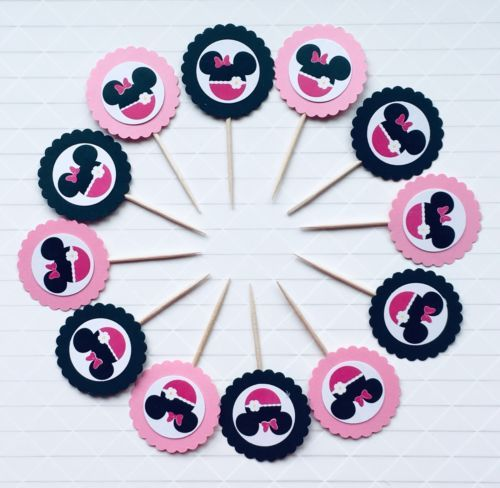 Pleasing 30 Minnie Mouse Cupcake Toppers 1St Birthday Baby Shower Funny Birthday Cards Online Necthendildamsfinfo