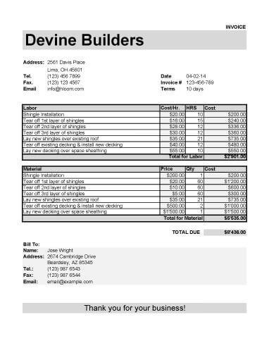 Roofing Invoice Template for Labor and Material Tools - bill invoice