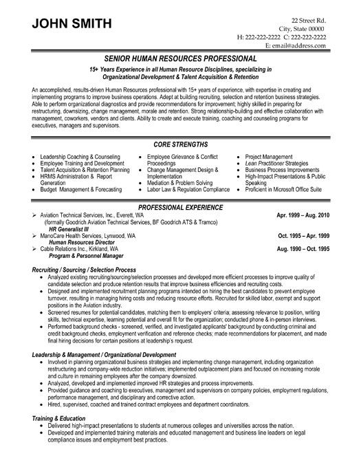 Senior HR Professional Resume Template Premium Resume Samples - resume for human resources