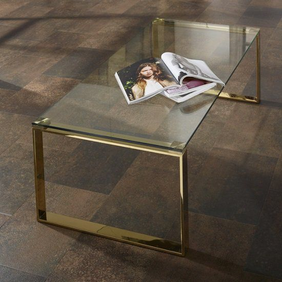 Joyce Coffee Table Rectangular In Clear Glass With Gold Legs In 2020 Coffee Table Gold Legs Small Coffee Table Table