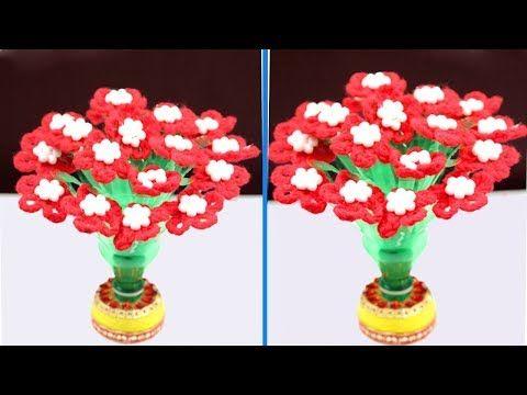 Diy Guldasta From Waste Plastic Bottle And Woolen Woolen Flower Guldasta Naya Guldas Flores De Botella De Plastico Flores Con Botellas Botellas Plasticas