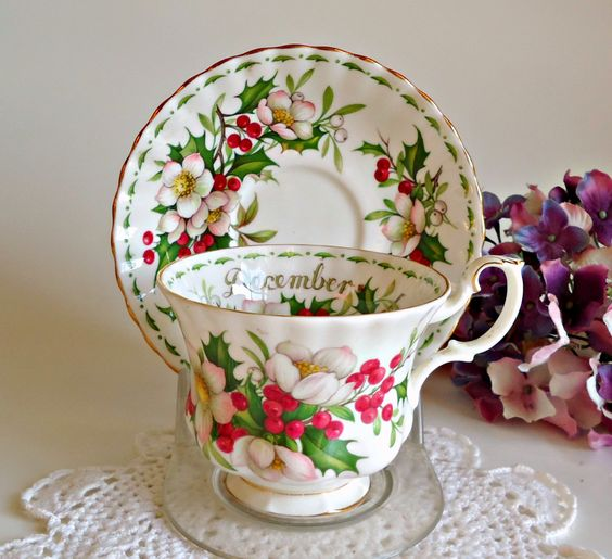 Tea Cup and Saucer Teacup and Saucer Vintage Royal Albert December Floral by treasurecoveally on Etsy