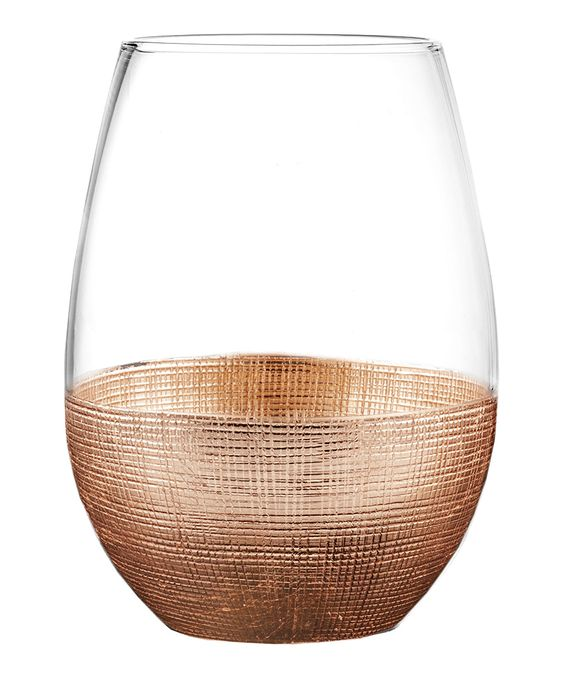 Copper Linen Stemless Wine Glass - Set of Four