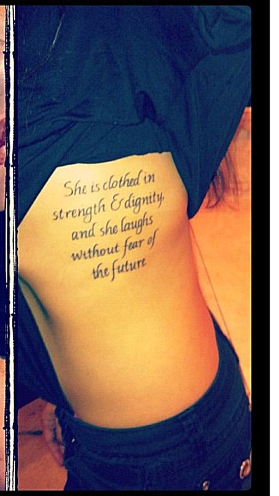 Pics for proverbs 31 25 tattoo ribs for Strength tattoos on ribs