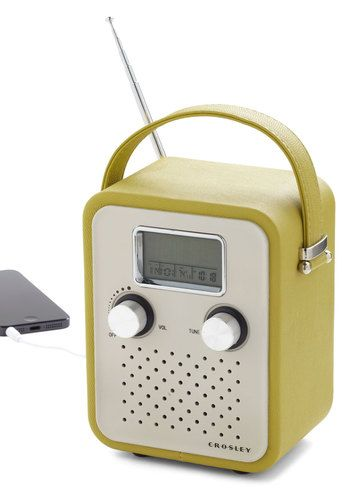 Trail Remix Radio: Keep the pep in your troupes step by playing your favorite stations and songs with this retro  portable radio! Clad in olive-green faux leather and finished wit…    #1960s #60s #Retro #Vintage #Green, #ModCloth, #TrailRemixRadio