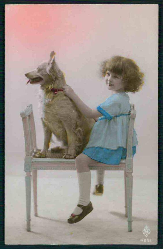 красивая девочка с белым овчарка оригинальная старая c1920s фото открытка   eBay