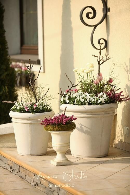 Lece W Kulki Wiosna Na Schodach Planters Door Decorations Planter Pots