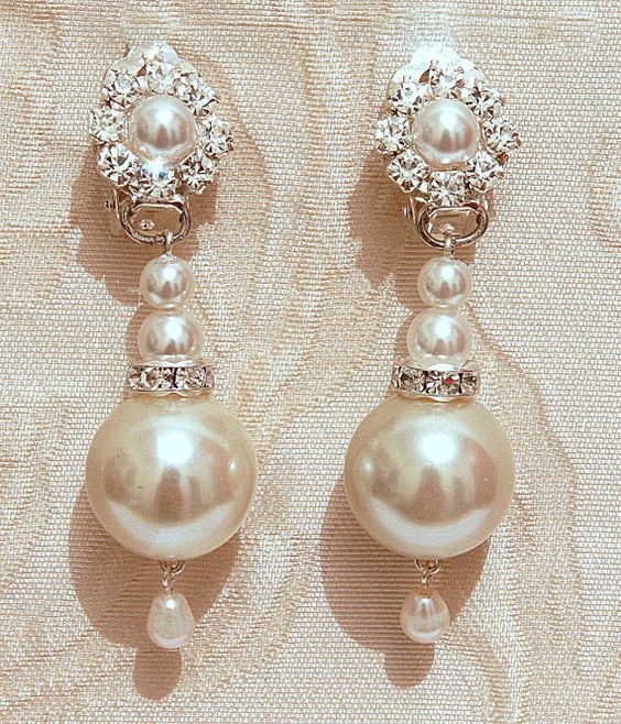 Pearls Bridal Earrings, Bridal Chandelier Earrings, Vintage Wedding Jewelry, Swarovski, Posts Silver Ivory White ,Rhinestone ,Crystals, on Etsy, $49.00