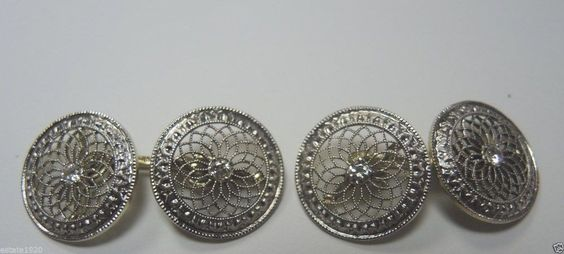 Antique Diamond CuffLinks Platinum 14K Yellow Gold Fine Jewelry EGL USA Vintage #Handmade