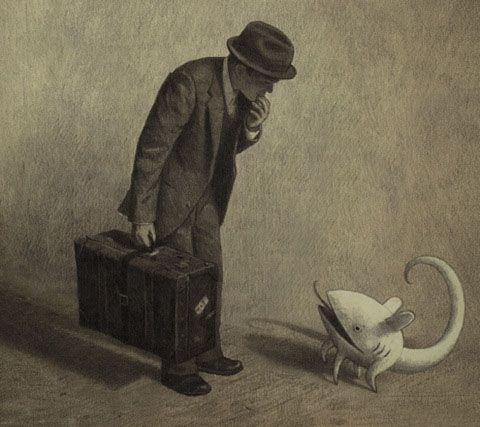 Shaun Tan, from his great graphic novel, The Arrival (friendly little monster)