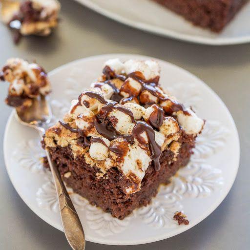 Smores Poke Cake Recipe Yummly Recipe In 2020 Smores Cake Devils Food Cake Mix Recipe Easy Smores