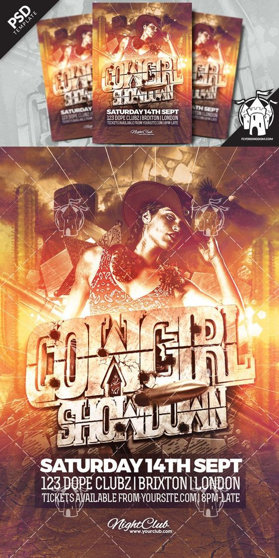 Cowgirl Showdown Flyer Template  Flyer Template Templates And Flyers