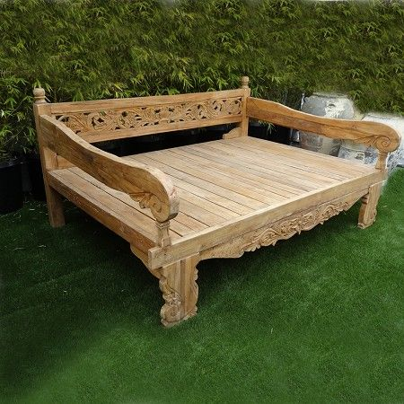 balinese teak carved daybed floral carved teak wood bench with rolled arms perfect for outdoor. Black Bedroom Furniture Sets. Home Design Ideas