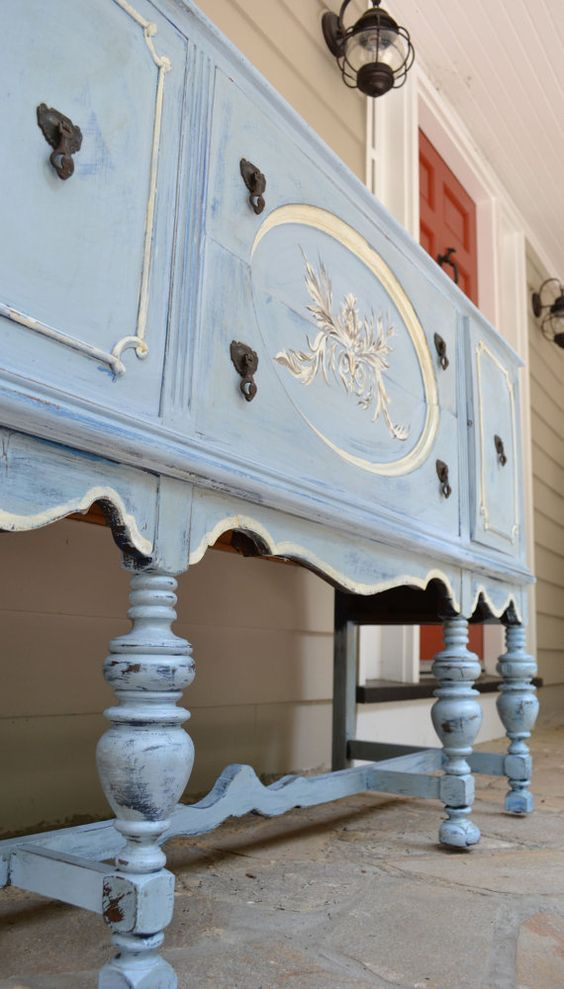 handpainted french blue buffet sideboard gorgeous french pinterest furniture shabby chic. Black Bedroom Furniture Sets. Home Design Ideas