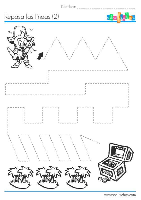Ejercicio de grafomotricidad. Encuentra el tesoro. para #educacionintantil  #education #kids