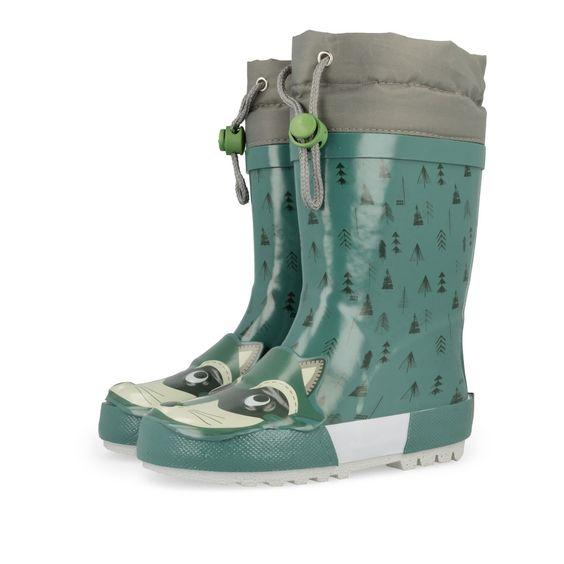 Botas de agua de niño en verde. Estampado de divertido mapache con orejas y cara…