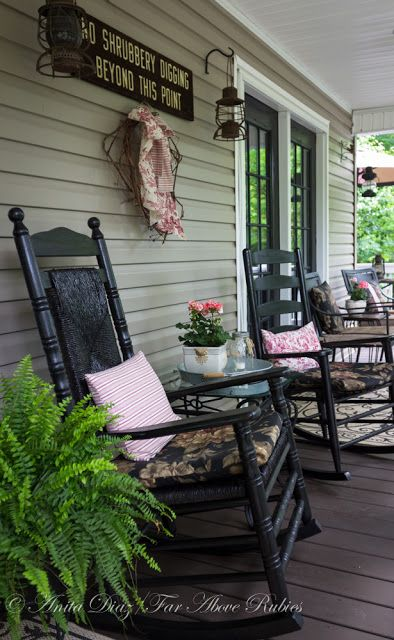 Far above rubies southern porch with vintage farmhouse for Country porch catalog