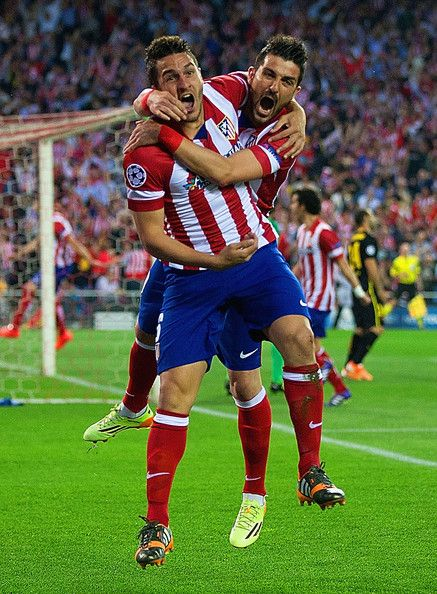 Koke & David Villa of Club Atletico de Madrid
