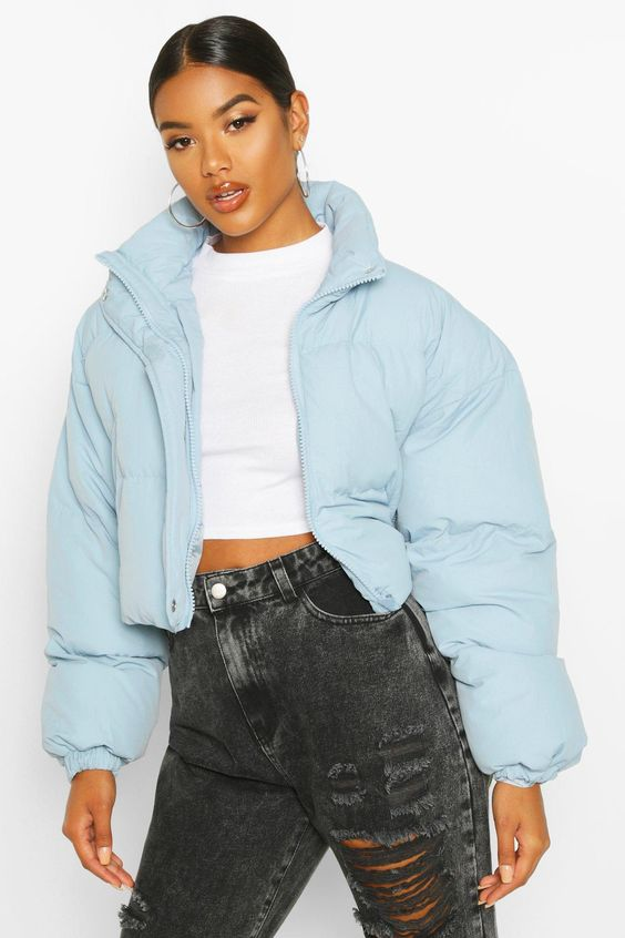 Womens Funnel Neck Cropped Puffer Jacket - blue -