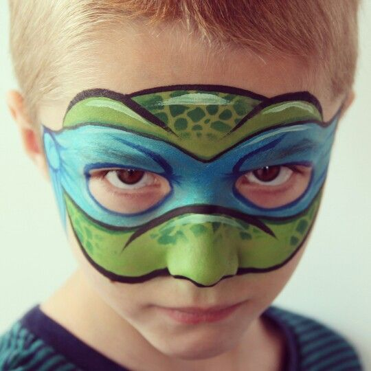 Teenage Mutant Ninja Turtle face paint design by www.facefunutah.com.  Professional Face & Body Painter, Lizz Daley