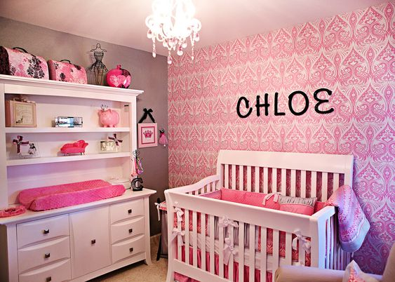 A wallpaper accent wall can make such an impact in a sweet nursery!