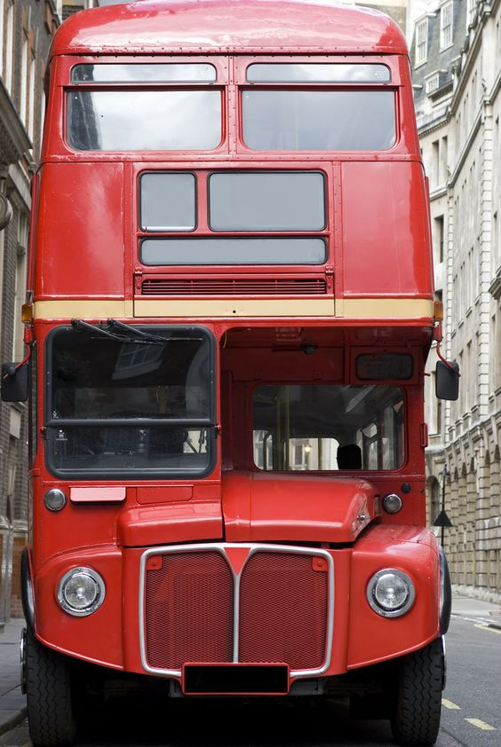 Iconic red bus, London