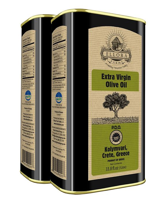 Ellora Farms | Certified PDO Extra Virgin Olive Oil | Koroneiki Variety Olives | World's First Traceable Olive Oil | Born in Ancient Crete, Greece | Fresh Harvest | Rich in Antioxidants | Non GMO | Certified Kosher 'OU' | 1Ltr. Tin, 33.8 FL oz. (Pack of 2) -- You can get more details at : Fresh Groceries