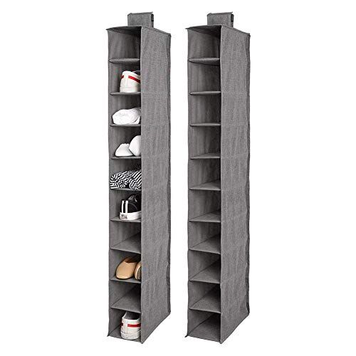 2 Removable Drawers 24 Cubby Canvas Fabric Hanging Beige Closet Shoe Organizer