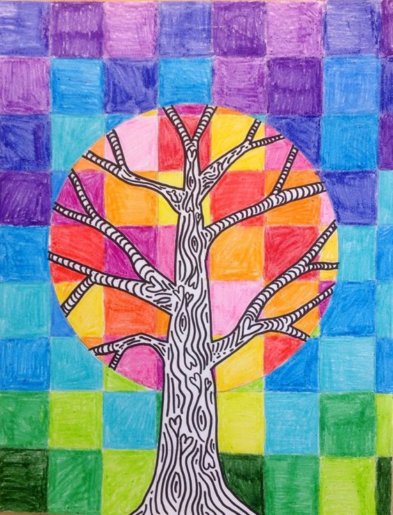 3rd grade art project: Warm and cool color tree - also  a great opportunity to practice using rulers and a compass...