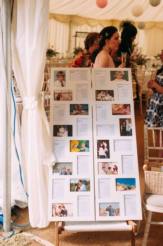 White collage picture frame table plan - Image by Anna Pumer Photography - Bespoke Lace Bridal Gown with Pastel Pink Bridesmaid Dresses, Traditional Morning Suit Groomsmen for an Outdoor Marquee Reception in a field with Rustic Decor & Paper Lanterns.