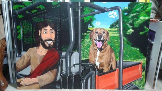 Just finished this 30 x 20 inch #acrylicpainting of #Hank the #dog and #Jesus #artistmuseum #_talent #TalentedPeopleInc #art #artwork #artist #spraypaint #paint #draw #illustration #canvas #Dallas #instagram #skateboarding #space  #gopro #tree #cloud #animals by cinnamonrollsyo