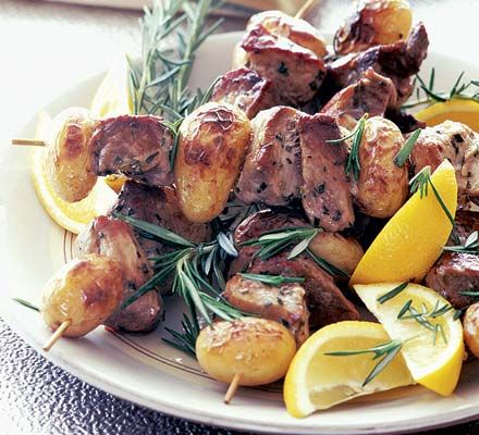 Perfect for the BBQ, pork, lemon and potato kebabs