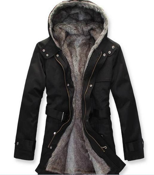 Details about Men's Military Hooded Fur Collar Winter Warm Long