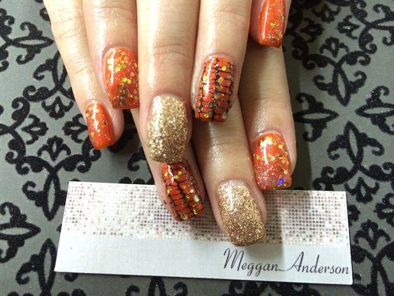 Day 295: Orange, Black & Gold Nail Art - - NAILS Magazine
