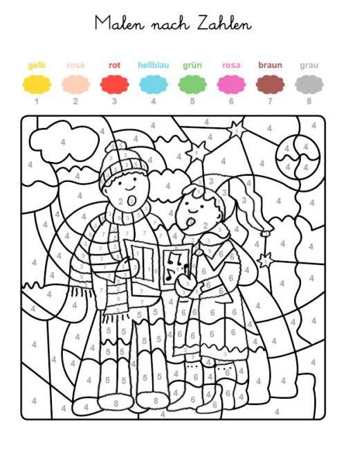 Malen Nach Zahlen Weihnachtssanger Ausmalen Zum Ausmalen Malen Nach Zahlen Malen Nach Zahlen Kinder Ausmalen