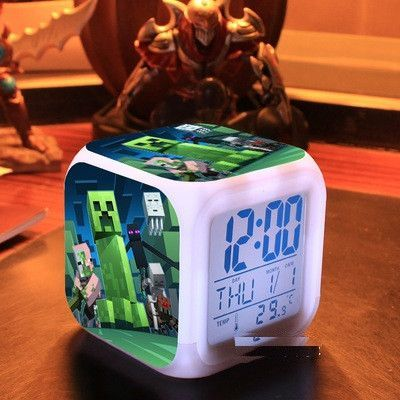 Touch light Minecraft 2015 Alarm Clock with LED cartoon anna elsa action & toy figures star wars spiderman batman cars2 Toys