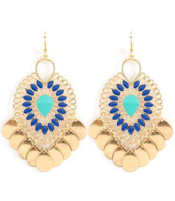 Blue & Teal Tear Drop Chandelier Earrings #Chandelier