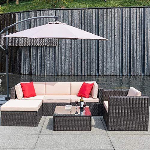 Flamaker 6 Pieces Patio Furniture Set Outdoor Sectional Sofa Outdoor Furniture Set Patio Sofa Patio Sofa Set Patio Furnishings Patio Furniture Sets